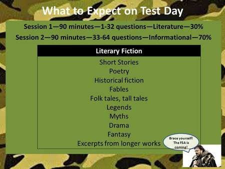 What to Expect on Test Day Session 1—90 minutes—1-32 questions—Literature—30% Session 2—90 minutes—33-64 questions—Informational—70% Brace yourself! The.