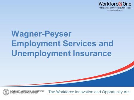 Wagner-Peyser Employment Services and Unemployment Insurance.