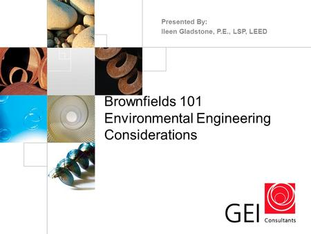 Brownfields 101 Environmental Engineering Considerations Presented By: Ileen Gladstone, P.E., LSP, LEED.