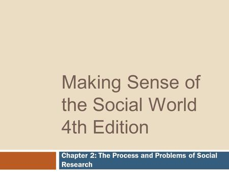 Making Sense of the Social World 4th Edition Chapter 2: The Process and Problems of Social Research.