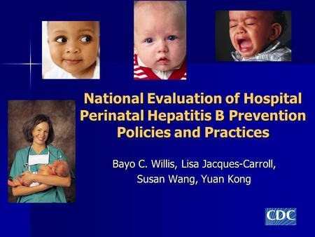 National Evaluation of Hospital Perinatal Hepatitis B Prevention Policies and Practices Bayo C. Willis, Lisa Jacques-Carroll, Susan Wang, Yuan Kong.