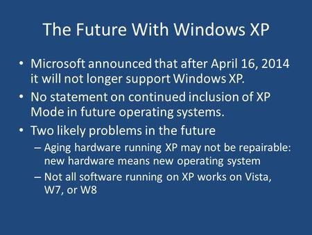 The Future With Windows XP Microsoft announced that after April 16, 2014 it will not longer support Windows XP. No statement on continued inclusion of.