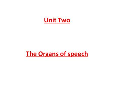 Unit Two The Organs of speech.  The Organs of Speech Introduction: To understand the nature of speech sounds and how we produce them, it is necessary.