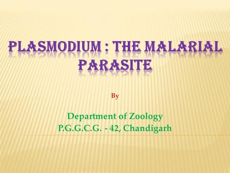 By Department of Zoology P.G.G.C.G. - 42, Chandigarh.