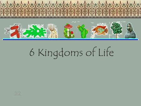 6 Kingdoms of Life 3/2. The student will investigate and understand life functions of archaebacteria, monerans (eubacteria), protists, fungi, plants,
