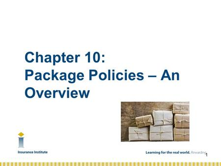 Chapter 10: Package Policies – An Overview 1. C72 – Intro to Risk Mgmt and Comm. Insurance – Chapter 9 Objectives » Discuss the advantages and disadvantages.