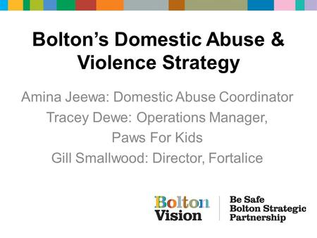Bolton's Domestic Abuse & Violence Strategy Amina Jeewa: Domestic Abuse Coordinator Tracey Dewe: Operations Manager, Paws For Kids Gill Smallwood: Director,