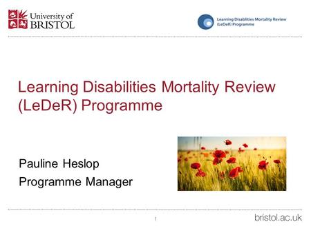 Learning Disabilities Mortality Review (LeDeR) Programme Pauline Heslop Programme Manager 1.