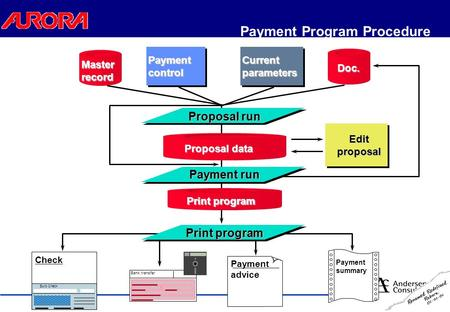 Payment Program Procedure Bank transfer Payment advice Payment summary Euro Check Check Payment control Current parameters Master record Doc. Proposal.