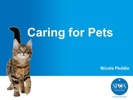 Caring for Pets Nicole Peddie. What do pets need?