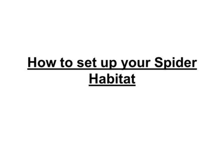 How to set up your Spider Habitat. Spider Habitat Remove the label. Save the cap.