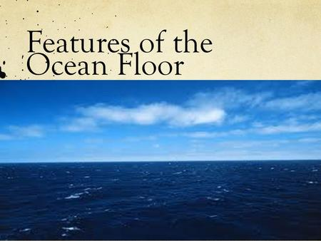 Features of the Ocean Floor. What do you know about the ocean? Sand Water Waves Life.