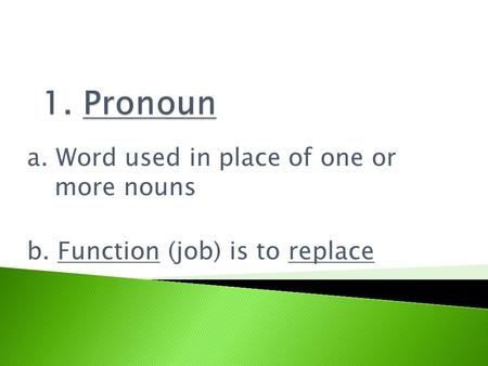 A. Word used in place of one or more nouns b. Function (job) is to replace.
