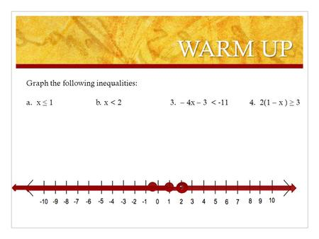 WARM UP Graph the following inequalities: a. x ≤ 1 b. x < 2 3. – 4x – 3 < -114. 2(1 – x ) ≥ 3.
