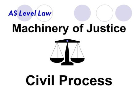 AS Level Law Machinery of Justice Civil Process. AS Level Law What you need to know:  the staffing and jurisdiction of the civil courts.  the civil.