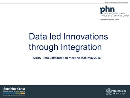 Data led Innovations through Integration AHHA- Data Collaboration Meeting 25th May 2016.
