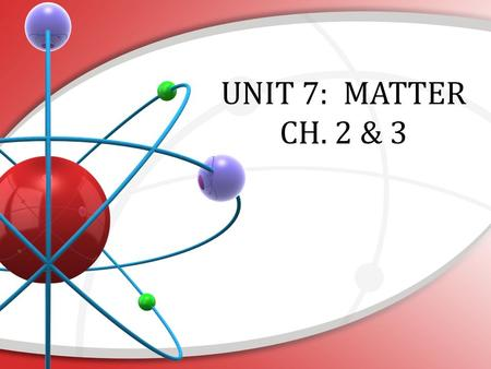 UNIT 7: MATTER CH. 2 & 3. Matter: Important Characteristics Has mass & volume (takes up space) Made of elements – substance cannot be broken down into.