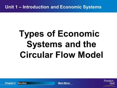 Chapter 2SectionMain Menu Unit 1 – Introduction and Economic Systems Types of Economic Systems and the Circular Flow Model.