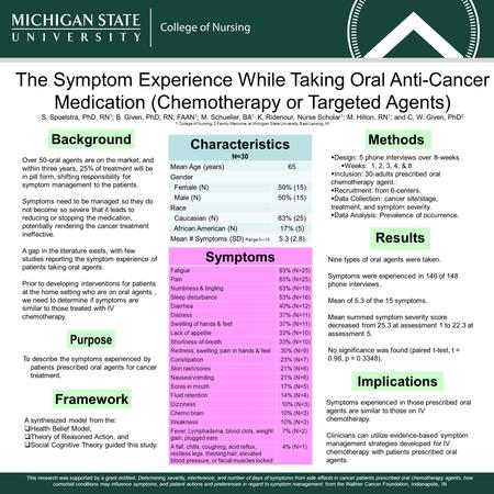 The Symptom Experience While Taking Oral Anti-Cancer Medication (Chemotherapy or Targeted Agents) S. Spoelstra, PhD, RN 1 ; B. Given, PhD, RN, FAAN 1 ;