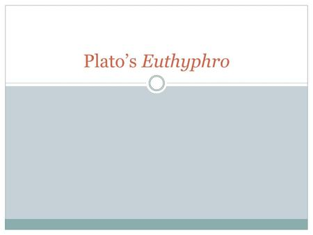 euthyphros piety Euthyphro's first definition of piety addresses the tension over locating sovereignty in the earthly father or in a heavenly father: 'piety is doing as i am doing why does socrates reject euthyphros third definition of piety more questions.