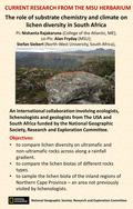 The role of substrate chemistry and climate on lichen diversity in South Africa PI: Nishanta Rajakaruna (College of the Atlantic, ME); co-PIs: Alan Fryday.