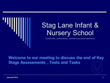 January 20141 Stag Lane Infant & Nursery School FOREVER LEARNERS: ACHIEVING OUR DREAMS Welcome to our meeting to discuss the end of Key Stage Assessments,
