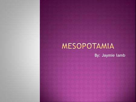 "By: Jaymie lamb The word Mesopotamia is actually a Greek word meaning ""between the rivers"" the rivers being Euphrates and Tigris River, the Tigris, and."