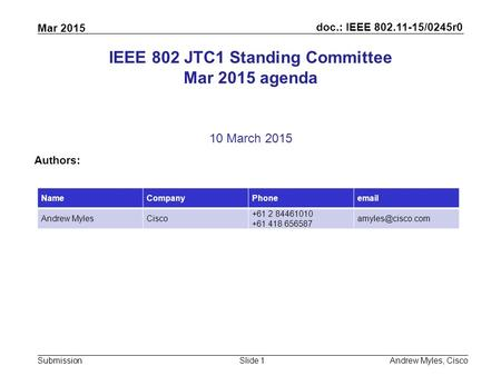 Doc.: IEEE 802.11-15/0245r0 Submission Mar 2015 Andrew Myles, CiscoSlide 1 IEEE 802 JTC1 Standing Committee Mar 2015 agenda 10 March 2015 Authors: NameCompanyPhoneemail.