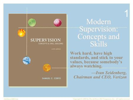 McGraw-Hill/Irwin Copyright © 2008 by The McGraw-Hill Companies, Inc. All rights reserved. Modern Supervision: Concepts and Skills Work hard, have high.