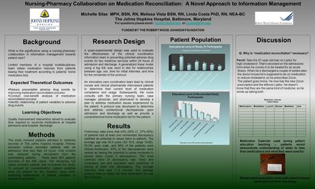 Patient Population Nursing-Pharmacy Collaboration on Medication Reconciliation: A Novel Approach to Information Management Michelle Silas MPH, BSN, RN,