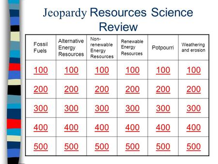 Jeopardy Resources Science Review Fossil Fuels Alternative Energy Resources Non- renewable Energy Resources Renewable Energy Resources Potpourri Weathering.