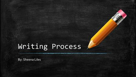 Writing Process By: Sheena Liles. 5 Steps 1.Prewriting 2.Drafting 3.Revising 4.Editing 5.Publishing.