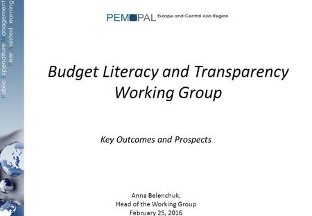 Budget Literacy and Transparency Working Group Key Outcomes and Prospects Anna Belenchuk, Head of the Working Group February 25, 2016.