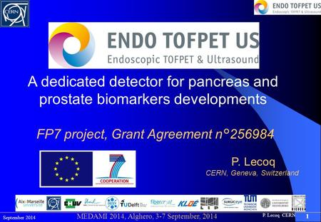 P. Lecoq CERN 1 September 2014 MEDAMI 2014, Alghero, 3-7 September, 2014 A dedicated detector for pancreas and prostate biomarkers developments FP7 project,