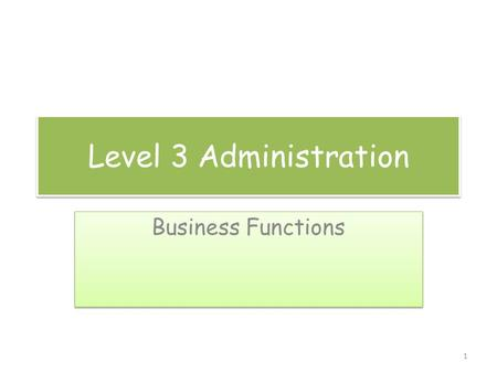 Level 3 Administration Business Functions 1. Functional areas These are likely to include: Finance Marketing Production Sales Human Resources Customer.