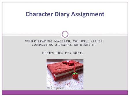Character Diary Assignment