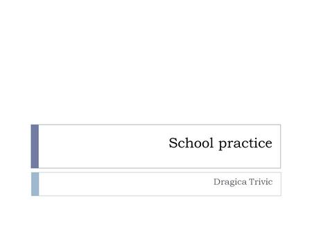 School practice Dragica Trivic. FINDINGS AND RECOMMENDATIONS FROM TEMPUS MASTS CONFERENCE in Novi Sad Practice should be seen as an integral part of the.