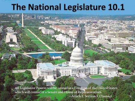 All Legislative Powers will be vested in a Congress of the United States, which will consist of a Senate and House of Representatives. --Article I, Section.