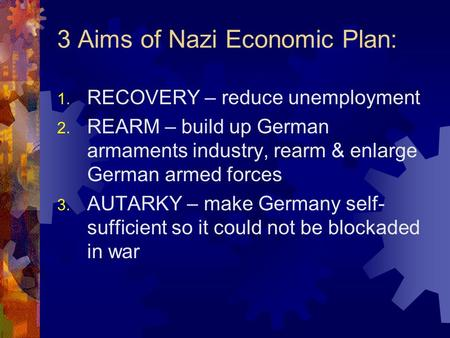 3 Aims of Nazi Economic Plan: 1. RECOVERY – reduce unemployment 2. REARM – build up German armaments industry, rearm & enlarge German armed forces 3. AUTARKY.