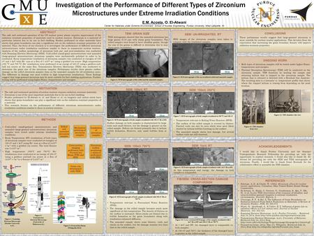 Investigation of the Performance of Different Types of Zirconium Microstructures under Extreme Irradiation Conditions E.M. Acosta, O. El-Atwani Center.