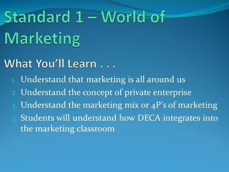 1. Understand that marketing is all around us 2. Understand the concept of private enterprise 3. Understand the marketing mix or 4P's of marketing 4. Students.