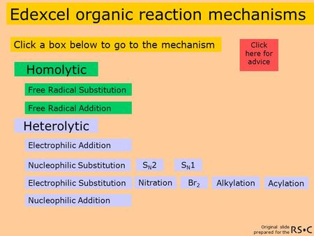 Original slide prepared for the Free Radical Substitution Edexcel organic reaction mechanisms Click a box below to go to the mechanism Electrophilic Addition.