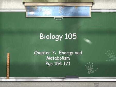 Biology 105 Chapter 7: Energy and Metabolism Pgs 154-171 Chapter 7: Energy and Metabolism Pgs 154-171.
