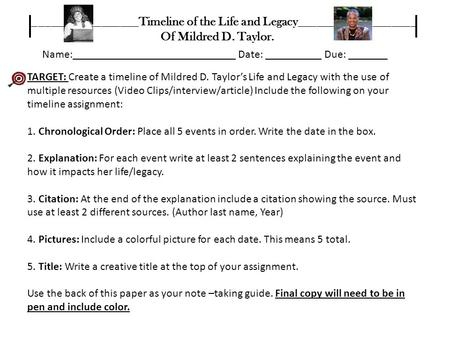 TARGET: Create a timeline of Mildred D. Taylor's Life and Legacy with the use of multiple resources (Video Clips/interview/article) Include the following.