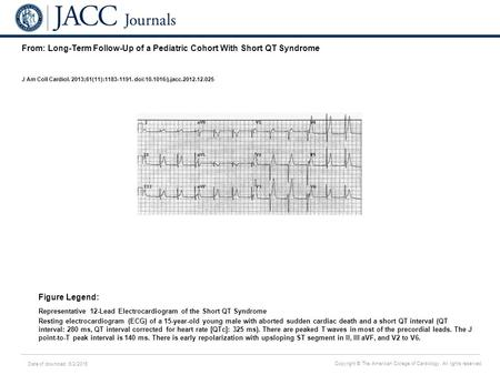 Date of download: 6/2/2016 Copyright © The American College of Cardiology. All rights reserved. From: Long-Term Follow-Up of a Pediatric Cohort With Short.