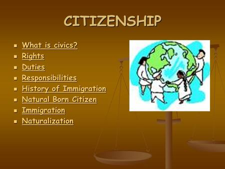 CITIZENSHIP What is civics? What is civics? What is civics? What is civics? Rights Rights Rights Duties Duties Duties Responsibilities Responsibilities.
