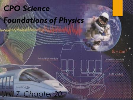 Unit 7, Chapter 20 CPO Science Foundations of Physics.