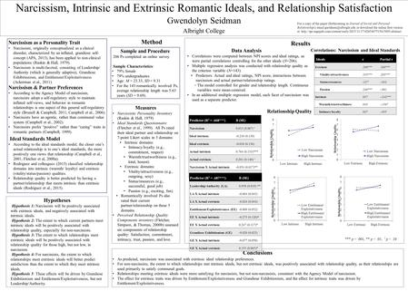 Narcissism, Intrinsic and Extrinsic Romantic Ideals, and Relationship Satisfaction Gwendolyn Seidman Albright College Sample and Procedure 206 Ps completed.