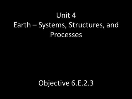 Unit 4 Earth – Systems, Structures, and Processes Objective 6.E.2.3.