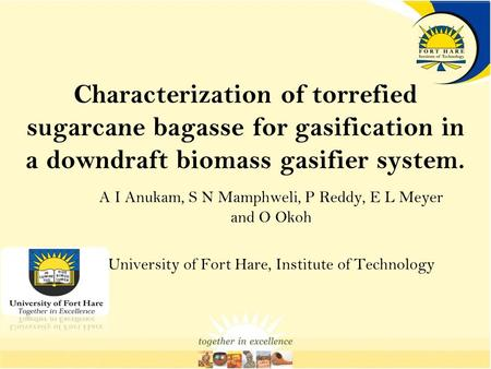 Characterization of torrefied sugarcane bagasse for gasification in a downdraft biomass gasifier system. A I Anukam, S N Mamphweli, P Reddy, E L Meyer.